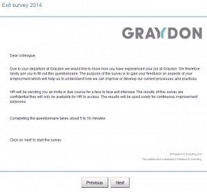 Exit Survey 2014 Graydon