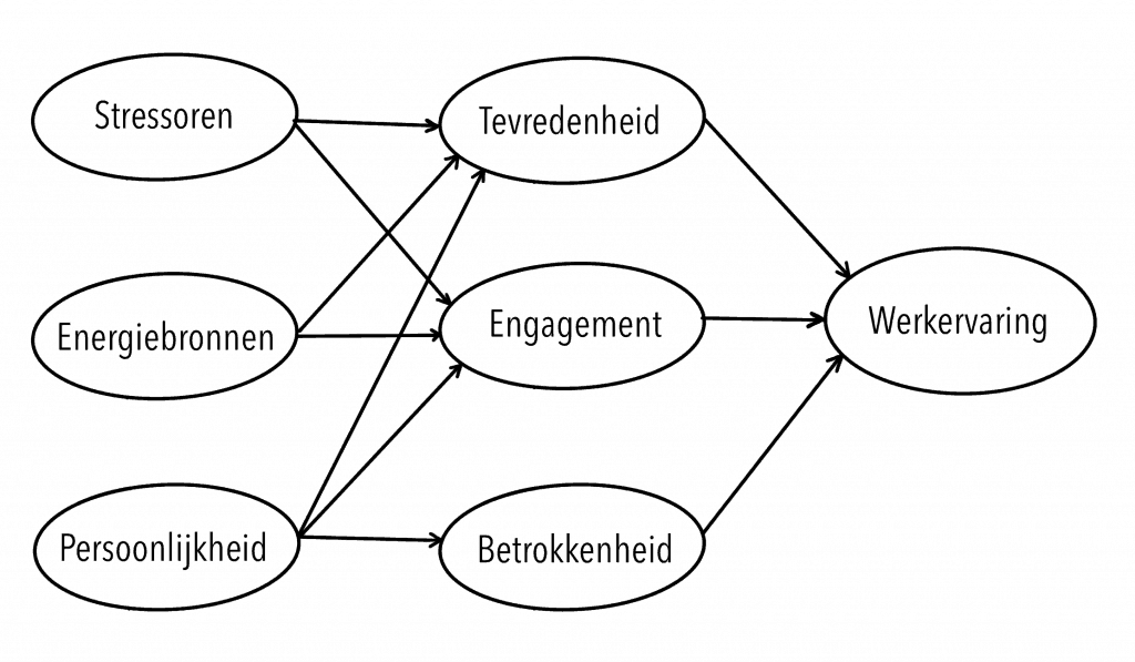 Diagram: influence of satisfaction, involvement and engagement on work experience.